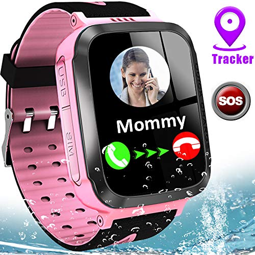 """Kids Smart Watch Phone IP67 Waterproof Smartwatch GPS Tracker Girls Boys Ages 3-12 1.44"""" Touch Screen Wrist Watch with 2 Way Call SOS Alarm Puzzle Game Camera Flashlight Voice Chat Back to School Gift"""