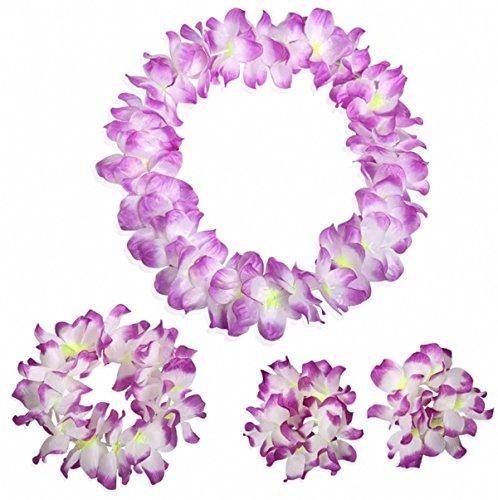 - Hawaiian Luau Flower Leis Jumbo Necklace Bracelets Headband Set Purple