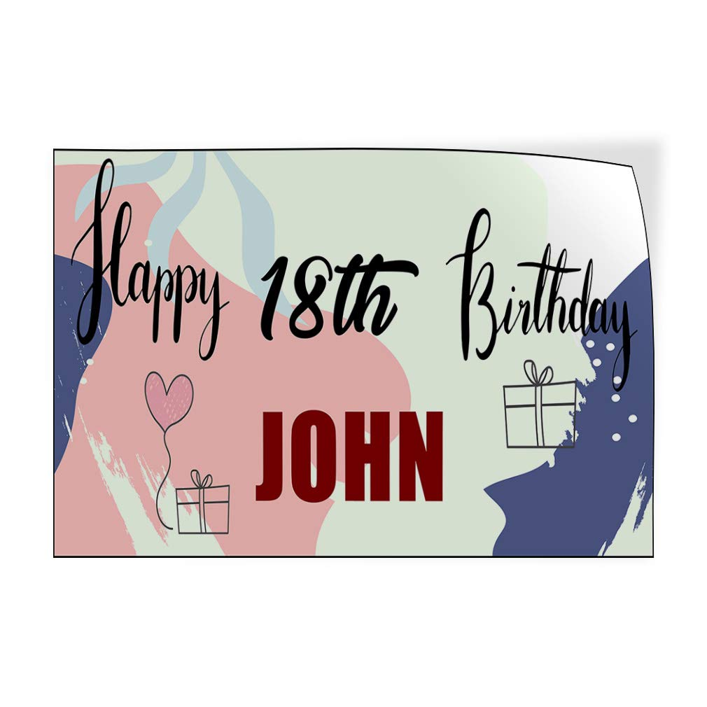 Custom Door Decals Vinyl Stickers Multiple Sizes Happy Age Birthday Boy Name Holidays and Occasions Happy Birthday Outdoor Luggage /& Bumper Stickers for Cars Red 30X20Inches Set of 10