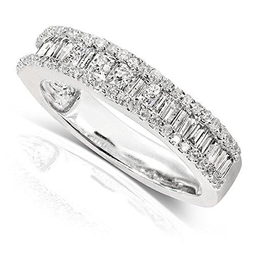 Diamond Wedding Band 3/5 carat (ctw) in 14K White Gold, Size 5.5