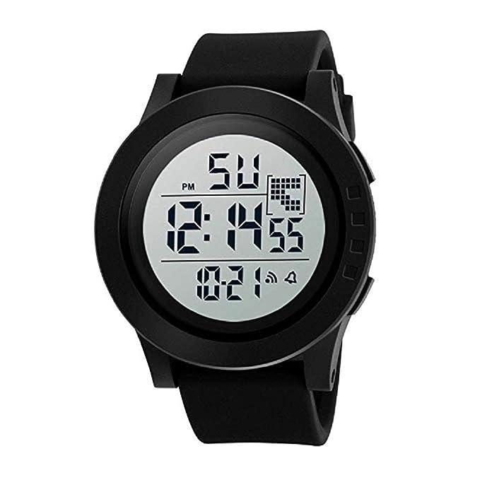 Reloj Digital Deportivo para Hombres Pantalla LED Relojes Militares de Gran Cara e Informal Impermeable Luminoso Reloj de ejército Simple Cronómetro Alarma ...