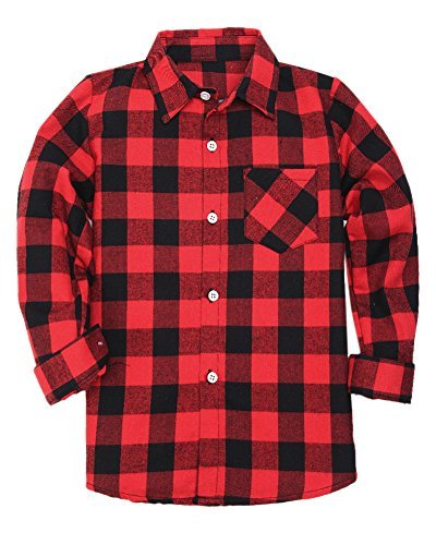 Boys Long Sleeves Button Down Plaid Flannel Shirt Tops, Red Black, Age 8T-9T (8-9 Years) = Tag 150