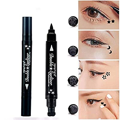 Pinkiou 2 in 1 Double-headed Liquid Eyeliner Pen Stamp Super Slim Gel Felt Tip High Pigment Black Waterproof Smudgeproof Long Lasting Makeup Tool