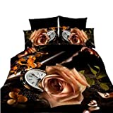 zhENfu 3D Reactive Flowers Bedding Sets 4 Pcs for Queen Size Contain 1 Duvet Cover 1 Bedsheet 2 Pillowcases from China,Queen,Coffee