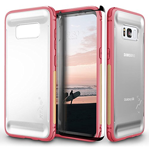 Zizo Flux Series Compatible with Samsung Galaxy S8 Plus Case Military Grade Drop Tested with Tempered Glass Screen Protector Pink Beige
