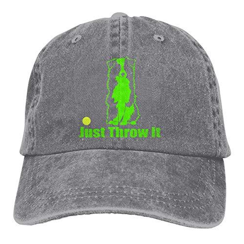 (Just Throw It Australian Shepherd Aussie Dog Vintage Jeans Ponytail Baseball Hat for Men Women)