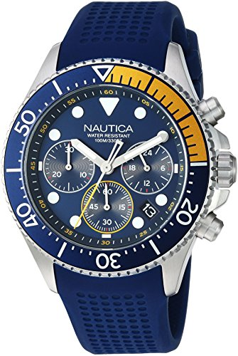 Nautica Men's 'WESTPORT COLLECTION' Quartz Stainless Steel and Silicone Casual Watch, Color:Blue (Model: NAPWPC002)
