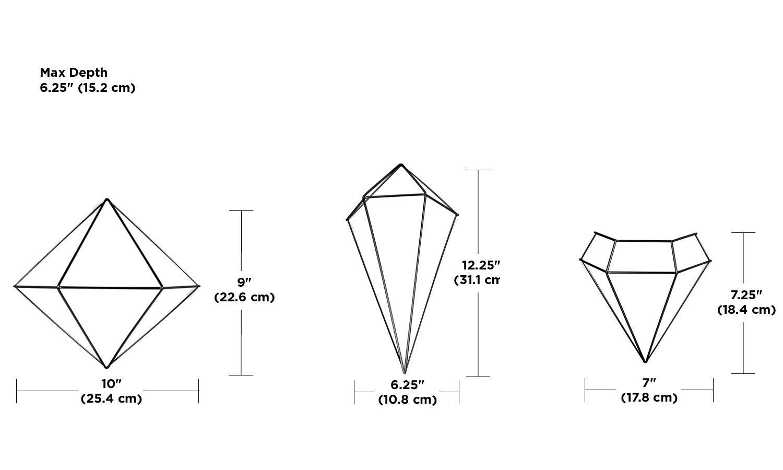 Jeu de 3 mobiles g/éom/étriques Prisma /à suspendres pour d/écor mural En m/étal cuivr/é UMBRA Prisma Wall Decor 3 diff/érentes tailles entre 15 et 31cm de long chacun.