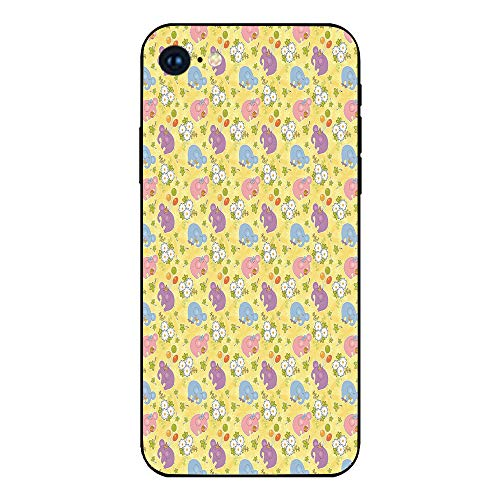 Phone Case Compatible with iphone7 iphone8 mobile phone covers phone shell Brandnew Tempered Glass Backplane,Elephant,Blossoming Cartoon Flowers and Animal Mascots Balloons Bow Ties Playful Clip Art,M