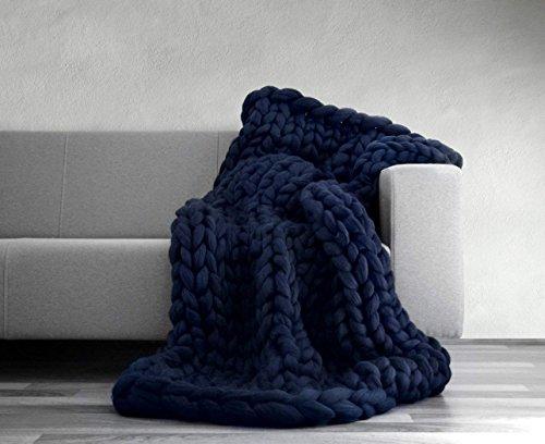 VIYEAR Chunky Knit Blanket Soft Handmade Knitting Throw for Bedroom Sofa Decor Super Large (Navy Blue, 40 59) …