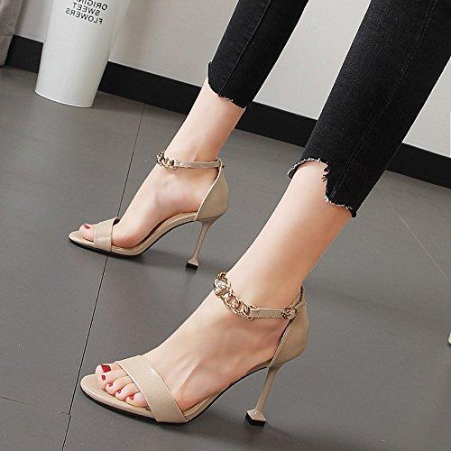 Beige Xue Qiqi Tau-toe high-heel Schuhe fein mit mit Seite leer Licht von Frauen Schuhe metall kette geschlitzten Riegel Sandalen  beste Mode