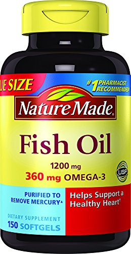 Nature Made Fish Oil 1200 mg w. Omega-3 360 mg Softgels Value Size 150 Ct (Usp Fish Oil)