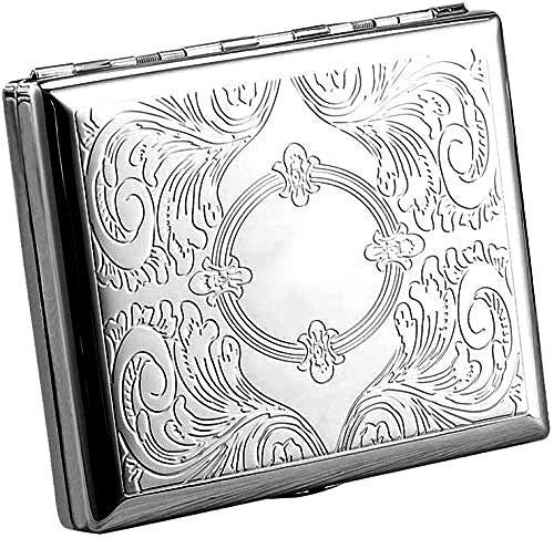 Cigarette Case Victorian Style Metal Holder for Regular, King and 100's Size RFID (Large, Etched Silver)