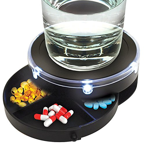 017874015450 - Sound Activated Nightstand Caddy with Pill Organizer and LED Lights carousel main 0