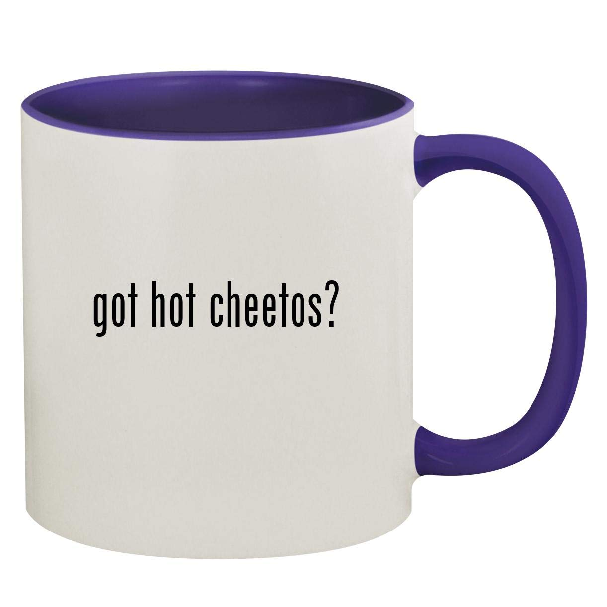 got hot cheetos? - 11oz Ceramic Colored Inside & Handle Coffee Mug, Deep Purple