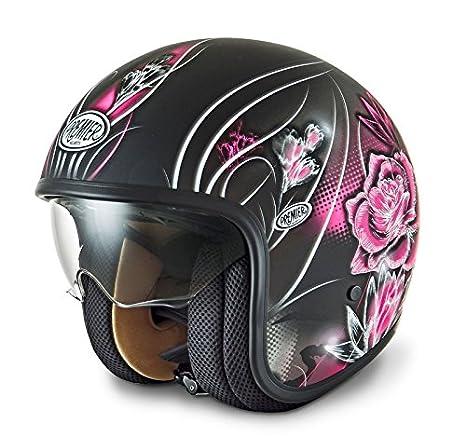 Amazon.es: Premier Vanity 9BM - Casco jet para mujer (serie vintage) XS Negro con estampado rosa/plateado/blanco