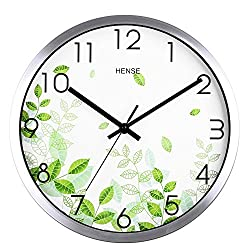 Hense Fashion Concise Fresh green leaves Design Bedroom/living Room Round 12-inch Ultra Mute Quartz Movement Baking Paint Metal Frame Wall Clock HW40 (Silver # Metal Frame)