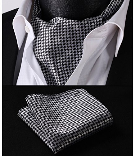 - HISDERN Men's Ascot Houndstooth Dot Jacquard Woven Gift Cravat Tie and Pocket Square Set