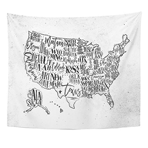 - TOMPOP Tapestry Vintage USA Map States Inscription California Florida Washington Texas Home Decor Wall Hanging for Living Room Bedroom Dorm 50x60 Inches