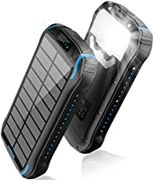 Solar Charger 26800mAh, Solar Power Bank, Portable Charger Battery Pack with 3 Outputs & 2 Inputs(Micro USB & Type-C)...