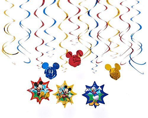 Diseny Mickey Mouse and Friends Party Foil Hanging Swirl Decorations / Spiral Ornaments (12 PCS)- Party Supply, Party Decorations
