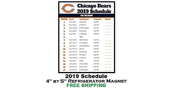 2fb53804 Amazon.com: Chicago Bears NFL Football 2019 Schedule and Scores ...