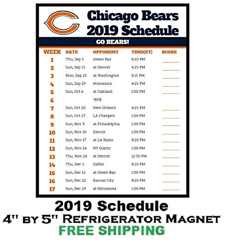 2019 Chicago Bears Schedule Amazon.com: Chicago Bears NFL Football 2019 Schedule and Scores
