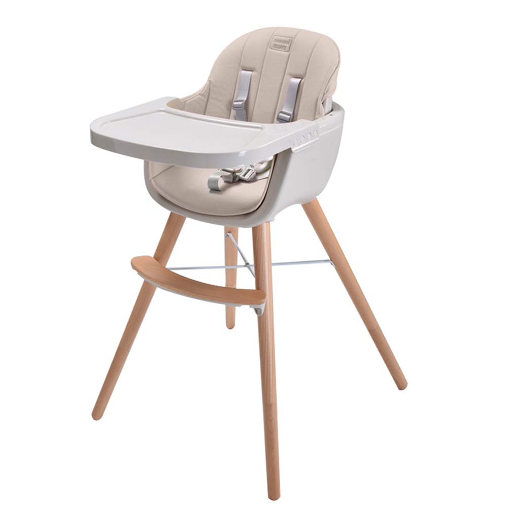 Ambermier Kids Wood High Chair, Perfect 3 in 1 Convertible Highchair with Harness, Removable Tray, and Adjustable Legs for Babies and Toddlers (6 Months & up)