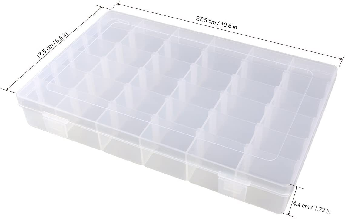 Clear Plastic Jewelry Box Organizer Storage Container with Adjustable Dividers 36 Grids