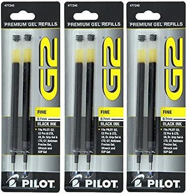 Grip Gel//Ltd ExecuGel G6 Q7 Fine Tip Black 2//Pack Pilot Refill for G2 Gel Dr