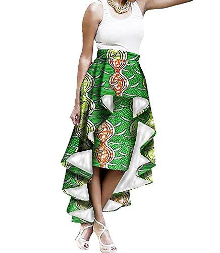 Liyuandian Womens African Print High Waisted Skirts Dashiki High Low Asymmetrical Long Maxi Skirt by Liyuandian