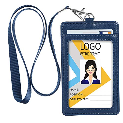 ID Badge Holder, Vertical PU Leather ID Badge Holder with 1 Clear ID Window & 1 Credit Card Slot and a Detachable Neck Lanyard (Blue)