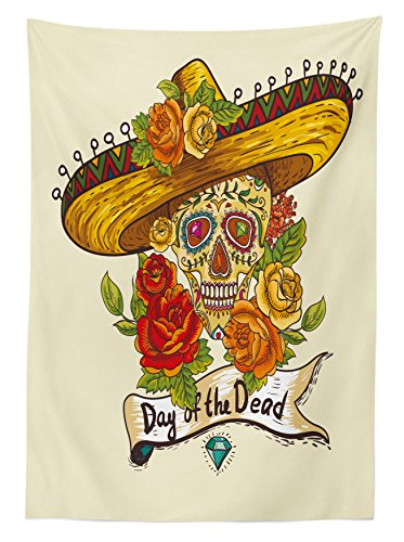 Sugar Skull Decor Tablecloth by Ambesonne, Skull in Sombrero Traditional Mexican Culture Theme Roses Day of the Dead, Dining Room Kitchen Rectangular Table Cover, 60 W X 90 L Inches, Multicolor