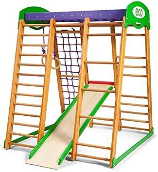 SportBaby Centro de Actividades con tobogán ˝Karapuz˝, Red de Escalada, Anillos, Escalera Sueco, Campo de Juego Infantil, Juguetes: Amazon.es: Deportes y aire libre