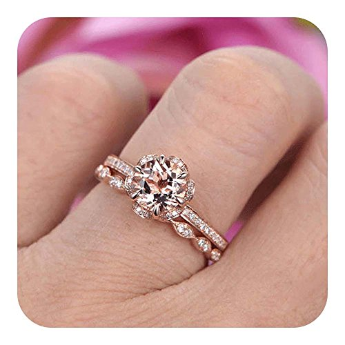 RUDRAFASHION 7mm Round Cut Morganite & Diamond 14k Rose Gold Plated Wedding Bridal Ring Halo Stackable Ring/Art Deco Floral/Bezel Set/Half Eternity for Women ()