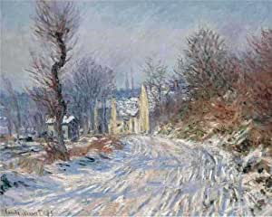 Oil painting 'Claude Monet - The Road at Giverny in Winter, 1885' printing on Linen Canvas , 8x10 inch / 20x25 cm ,the best Wall art artwork and Home gallery art and Gifts is this High quality Art Decorative Canvas Prints