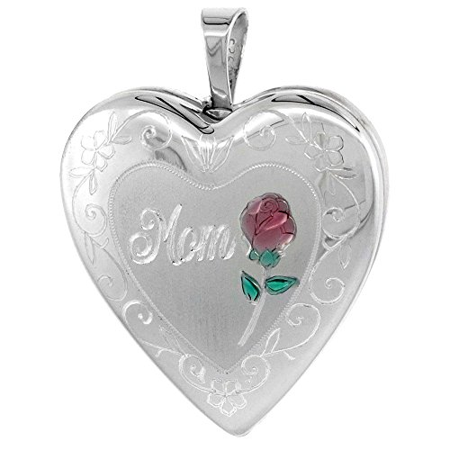 Sterling Silver Mom Heart Locket (Sterling Silver Heart Locket Necklace MOM & Red Rose, 18 inch Boston Chain)