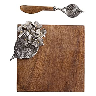 Mud Pie 4751056 Hydrangea Small Cutting Cheese Serving Board, Brown