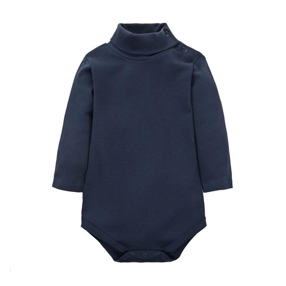 CuteOn Baby Boys Girls Solid Color Basic Turtleneck Cotton Bodysuit Jumpsuit Beige 6 Months