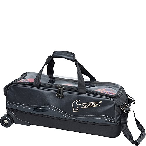 Hammer Bowling Products Force 3 Ball Slim Triple Roller Bag- Black, - Bowling 3 Bag Hammer Ball
