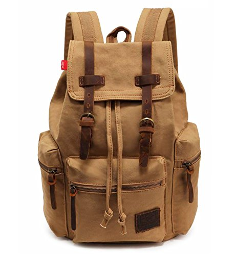 HuaChen Vintage Canvas Leather Backpack AUGUR Hiking Daypacks Computers Laptop School Bag Shoulder Backpacks Unisex Casual Rucksack Satchel Bookbag Mountaineering Bag for Men Women (M32_Khaki)