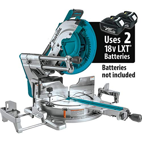 Makita XSL08Z 18V x2 LXT Lithium-Ion (36V) Brushless Cordless 12″ Dual-Bevel Sliding Compound Miter Saw, AWS Capable & Laser, Tool Only