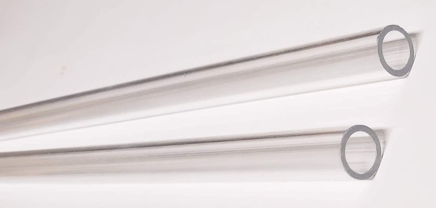 """Clear Polycarbonate Tube 1/"""" OD x 3//4/"""" ID x 12/"""" Long Pack of 7"""