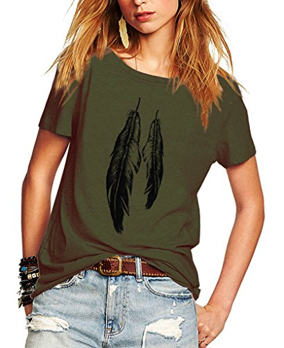 Romastory Womens Street Style Feather Pattern T-Shirts Casual Loose Top Tee Shirts (XL, Army Green)