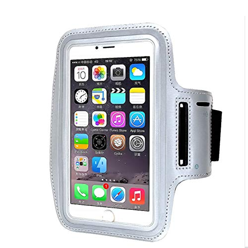 Armband for iPhone X 8/8plus/7/6/6S Plus, LG G6, Galaxy s8 s7 s6 Edge s8+,Note 5.etc.CaseHQ Adjustable Reflective Sport Exercise Running Pouch Key Holder,Screen Protector-Hiking,Biking(Silver)