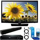 """Samsung (UN28H4000) 28"""" 720p HD Slim LED TV Clear Motion Rate 120 with HDMI 1080p HD DVD Player + Solo X3 Bluetooth Home Theater Sound Bar + 2x 6ft HDMI Cable + Universal Screen Cleaner for LED TVs"""