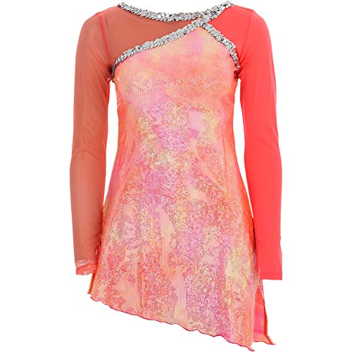 Alexandra Collection Womens Calypso Holographic Coral Skirted Dance Costume Leotard Multi X-Large - 1050's Costumes