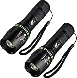 HAUSBELL Flashlights, T6 LED Flashlights, LED Handheld Flashlights, Zoomable, High Lumen, Water Resistant, 5 Light Modes Lantern Flashlights for Camping, Hiking, Kids, Outdoor (2 Pack)