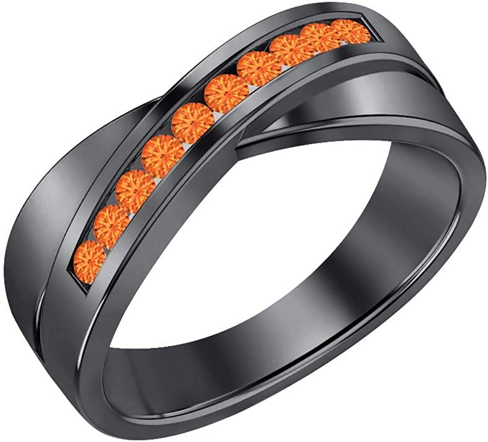 SVC-JEWELS 14K Black Gold Over 925 Sterling Silver Round Cut Orange Sapphire Criss Cross X Wedding Band Ring for Men