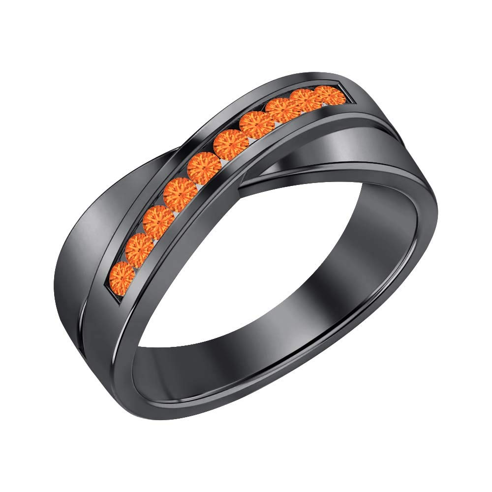 SVC-JEWELS 14K Black Gold Over 925 Sterling Silver Round Cut Orange Sapphire Criss Cross X Wedding Band Ring Men